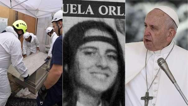 El momento de la apertura de las tumbas (izquierida), imagen de Emmanuela Orlandi (centro), y el papa Francisco (derecha).