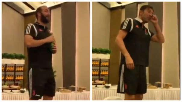 Higuaín y Buffon cantaron en la cena de la Juventus