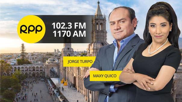 Jorge Turpo y Maxy Quico, periodistas de RPP Noticias en Arequipa.