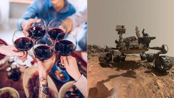 Personas tomando vino (izquierda) y el Mars Rover en la superficia del planeta rojo (derecha)