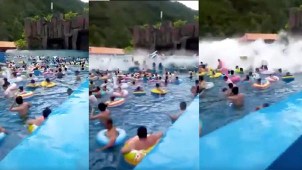 La gigantesca ola artificial levantó a los bañistas, aproximadamente 3 metros y causó decenas de heridos.