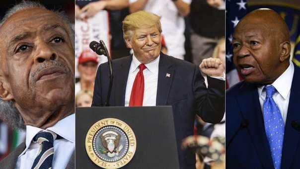 Al Sharpton y Elijah Cummings (izquierda y derecha, respectivamente) han sido las víctimas más recientes de los ataques de Donald Trump (centro), los que se suman a los dirigidos a mujeres de minorías étnicas en el último mes.