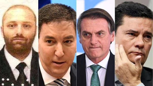 Walter Delgatti Neto, Gleen Greenwald, Jair Bolsonaro y Sergio Moro.