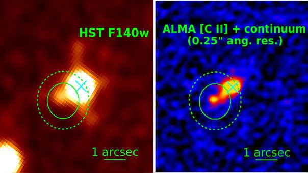 Imágenes del cuásar PSO167-13, recibidas del Telescopio Hubble y del sistema ALMA.