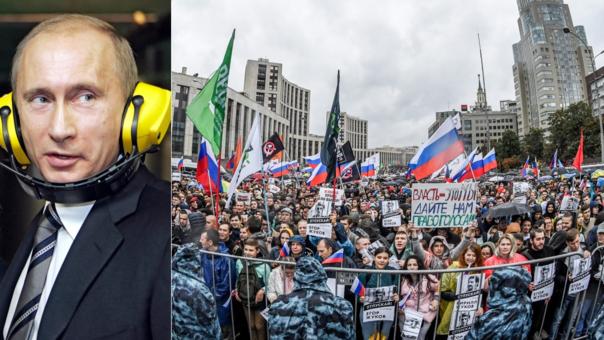 Protesta antigobierno en el centro de Moscú, Rusia.