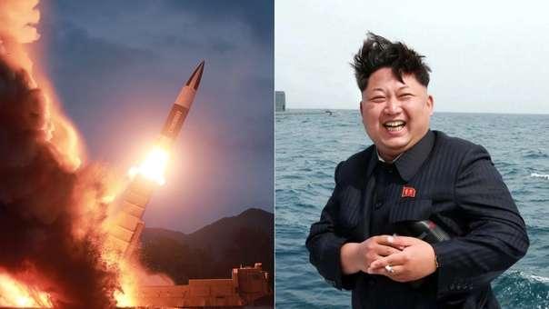 Izquierda: ensayo balístico de Corea del Norte. Derecha: Kim Jong-un, el dictador norcoreano.