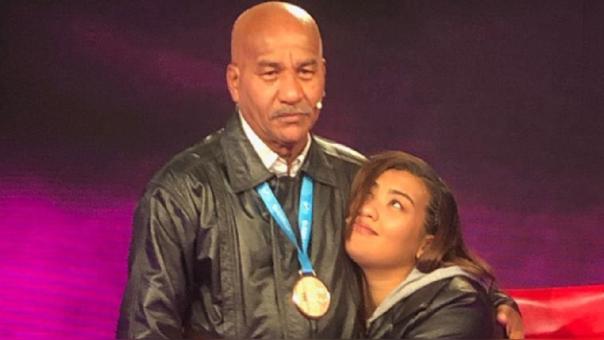 Yuliana Bolívar y su padre