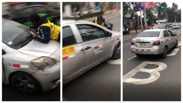 Taxista se llevó a inspector municipal.