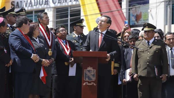 El presidente Martín Vizcarra brindó un discurso por el 90.º aniversario de la Reincorporación de Tacna.
