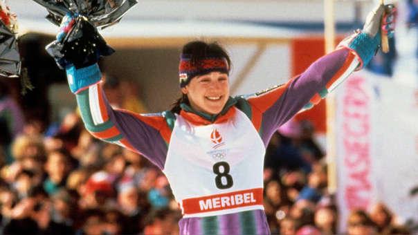 Blanca Fernández Ochoa tras ganar su medalla olímpica