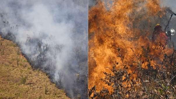 Incendio forestal en Charagua, Bolivia, cerca a la frontera con Paraguay.