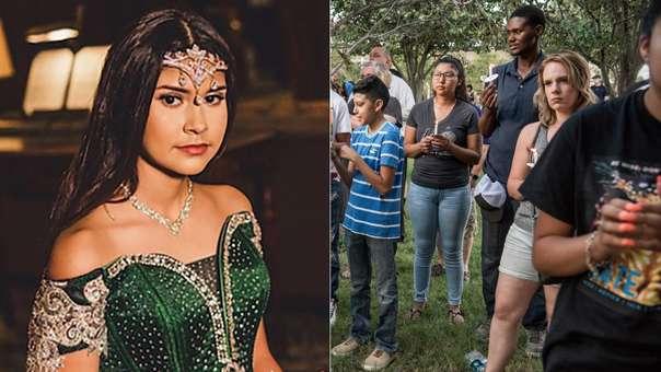 Izquierda: Leila Hernández. Derecha: ciuadanos reunidos en solidaridad con las víctimas del tiroteo del último sábado