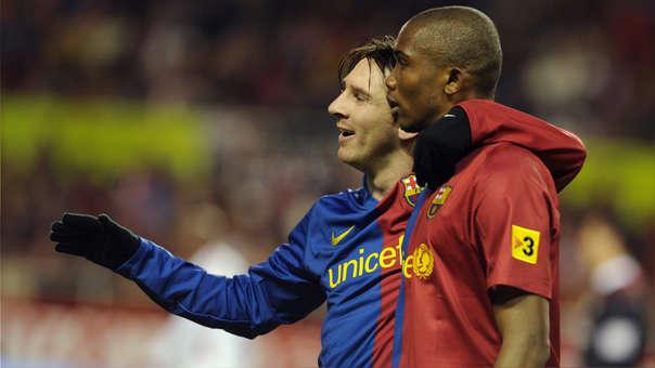 Lionel Messi y Samuel Eto'o en su época en el FC Barcelona