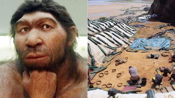 Izquierda: representación de un neandertal. Derecha: las obras en las que hallaron las huellas.