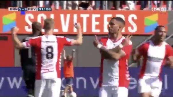 Sergio Peña anotó golazo en el duelo entre FC Emmen  y Feyenoord por la Eredivise