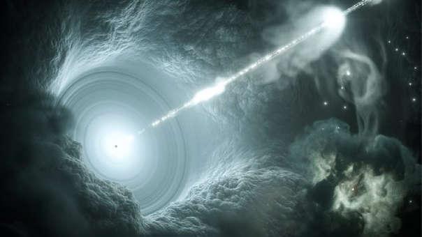 Chorro emanando de un agujero negro en el centro de un blazar