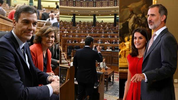 Izquierda: Pedro Sánchez, presidente del Gobierno de España en funciones que no logró formar una coalición. Centro: Sánchez ante el Parlamento español. Derecha: el rey Felipe y la reina Letizia.