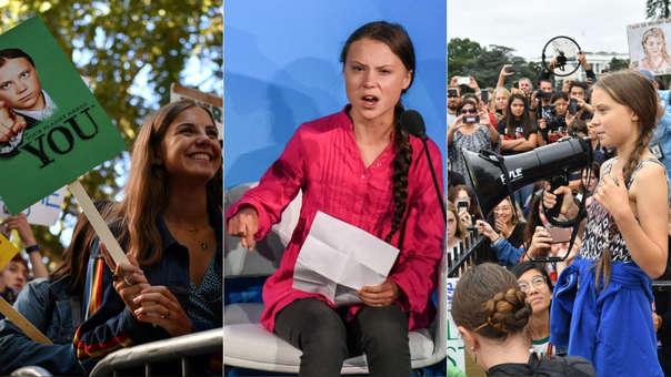 Izquierida: Activistas ambientalista que apoyan a Greta Thunberg. Centro: Greta Thunberg durante su apasionado discurso ante la ONU. Derecha: Greta durante una protesta frente a la Casa Blanca.