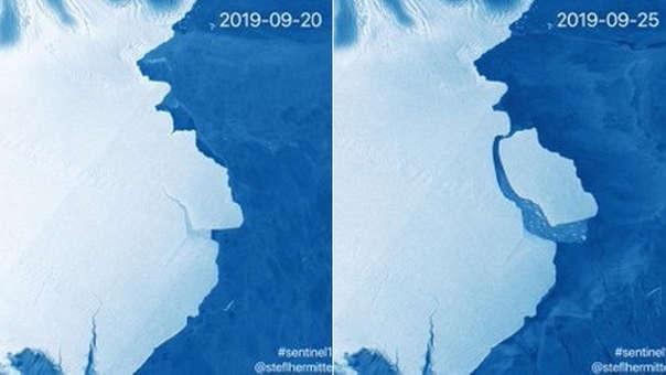 Así se ve el bloque de hielo separado de la Antártida