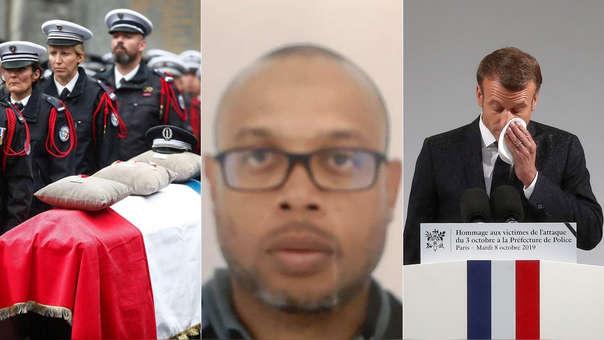 Izquierda: ceremonia de homenaje a los policías asesinado. Centro: fotografía de  Mickaël Harpon. Derecha: el presidente de Francia, Emmanuel Macron, durante su discurso en homenaje a las víctima del atentado.