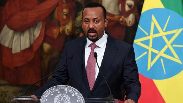 El primer ministro de Etiopía, Abiy Ahmed Ali, durante una conferencia de prensa en Roma (enero del 2019).