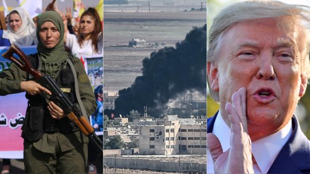 Izquierda: integrante de las Fuerzas de Seguridad Interna de los kurdos en la ciudad de Asayesh. Centro: lucha en la ciudad fronteriza de Ras al-Ain. Derecha: el presidente de Estados Unidos, Donald Trump, cuya decisión de retirar sus tropas desató la ofensiva de Turquía.