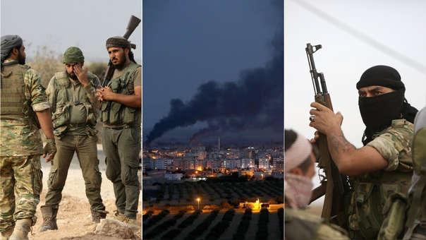Izquierda y derecha: Rebeldes sirias leales a Turquía en la ciudad de Kobane. Centro: Kobane, la que fue la primera ciudad en el norte de Siria que cayó en manos de los yihadistas del grupo Estado Islámico.