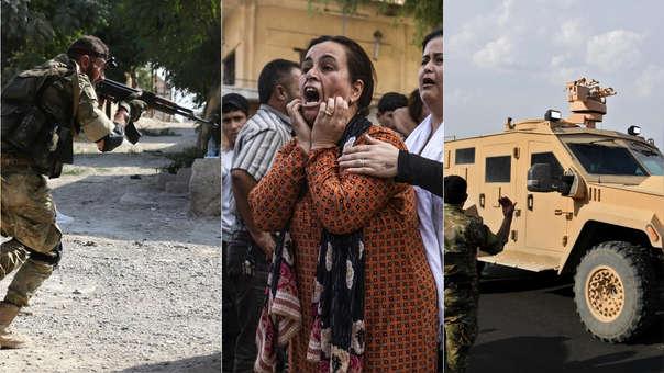 Izquierda: Un combatiente rebelde sirio que apoya a Turquía. Centro: una mujer siria reacciona al ver un cadáver. Derecha: vehículo de las fuerzas kurdas circula con el apoyo de un soldado del Gobierno sirio.