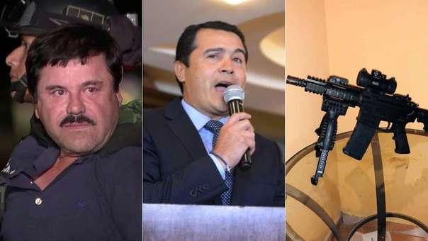 Izquierda: Chapo Guzmán, vinculado al caso. Centro: el exdiputado Tony Hernández, hermano del presidente de Honduras. Derecha:  fusil automático incautado a Juan Antonio
