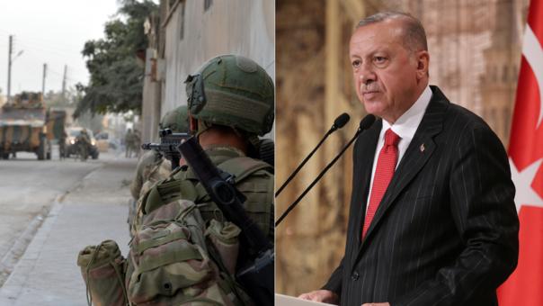 Izquierda: un soldado turco en Siria. Derecha: el presidente de Turquía, Recep Tayyip Erdogan.