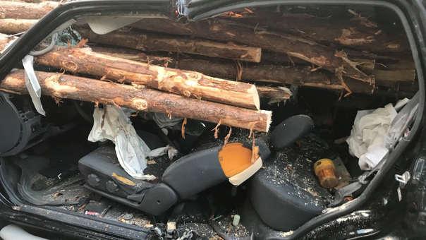 El conductor se descuidó y chocó con un camión que transportaba troncos.