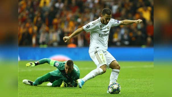 Real Madrid vs. Galatasaray: Eden Hazard tenía el GOL, pero su balón se estrelló en el travezaño