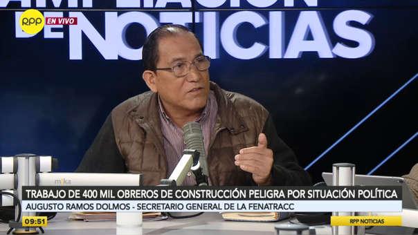 Augusto Ramos Dolmos, secretario general de la Federación Nacional de Trabajadores de Construcción Civil (Fenatracc)