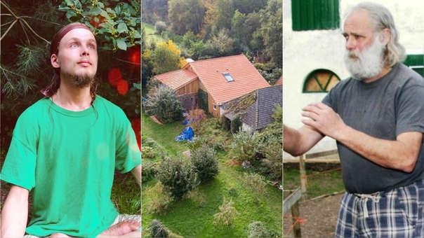 Izquierda: el hijo que escapó y reveló a las autoridades el encierro de su familia. Centro: vista aérea de la granja. Derecha: Gerrit-Jan van D., el padre.