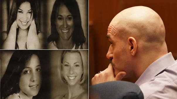 Michael Gargiulo (derecha) durante el juicio y las imágenes de sus cuatro víctimas mostradas durante el juicio: María Bruno, 32 (arriba a la izquierda); Michelle Murphy, 26 (arriba a la derecha); Tricia Pacaccio, 18 (abajo a la izquierda); y Ashley Ellerin, 22 (abajo a la derecha).