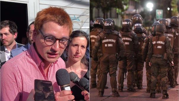 Josué Maureira (izquierda) hizo pública su denuncia contras los Carabineros (Policía) de Chile.