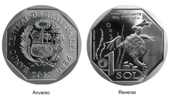 Moneda de S/ 1 alusiva a la rana gigante del Titicaca