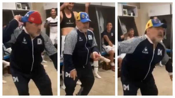 Diego Armando Maradona bailando tras la victoria de Gimnasia