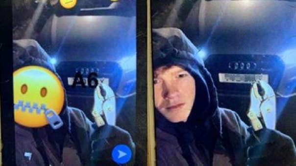 Izquierda: La imagen que fue subida a Instagram. Derecha: Foto encontrada en el celular de un cómplice, mostrando el rostro de Frankie Allwork.