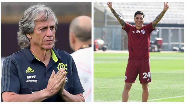 El abrazo entre Jorge Jesús y Enzo Pérez previo a la final de Copa Libertadores