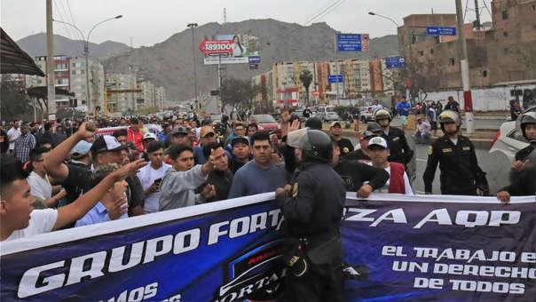 Protesta de colectiveros en lima