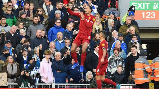 Van Dijk abrió el marcador en el Liverpool vs. Brighton por la Premier League