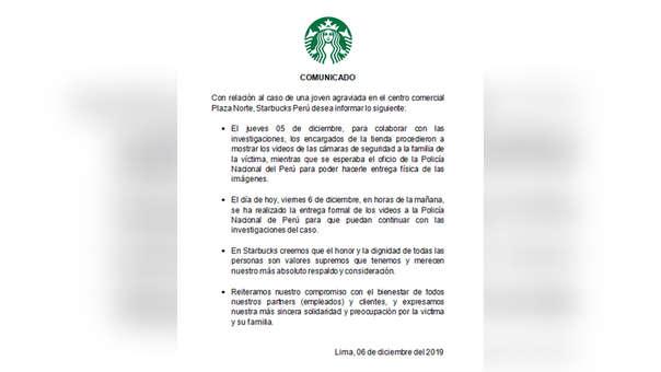 Comunicado Starbucks