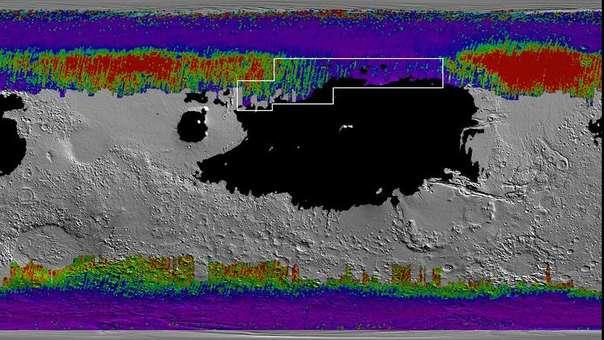 Las regiones a color son las que tendrían agua a muy poca profundidad.