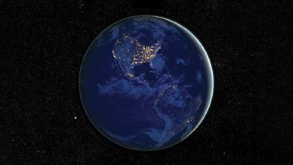 América por la noche NASA