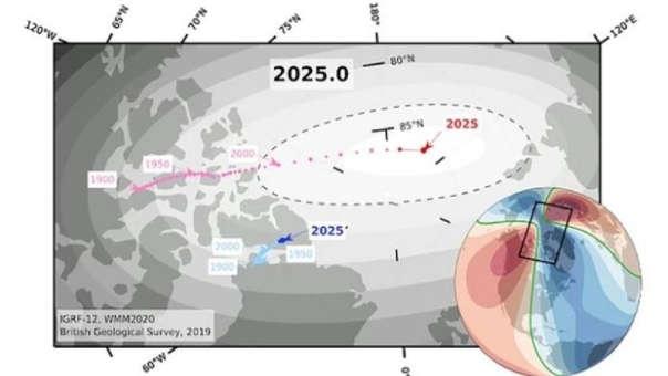 El gráfico muestra una estimación de dónde se encontrará el polo norte magnético para el 2025.