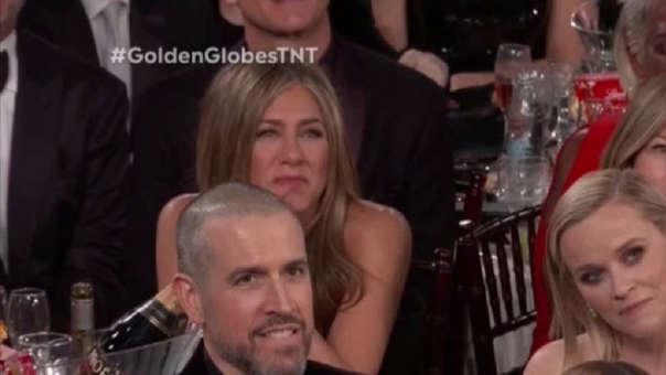 Así reaccionó Jennifer Aniston al discurso de Brad Pitt en los Globos de Oro 2020.