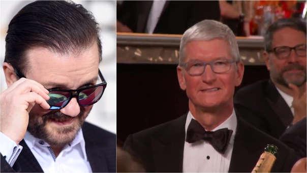 Tim Cook reaccionó así al halago a The Morning Show, la cámara no mostró su rostro tras la broma de Gervais.