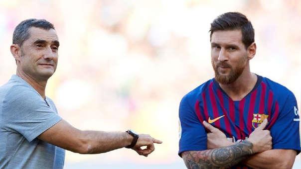 Lionel Messi y Ernesto Valverde.