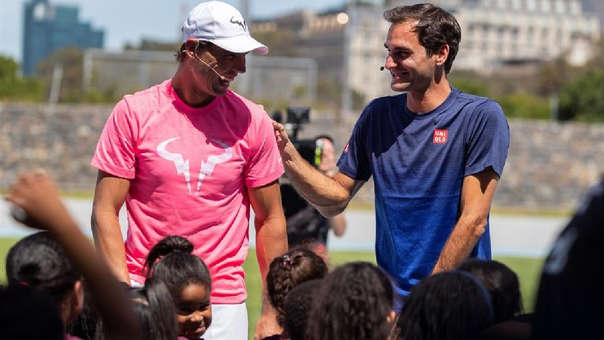 Roger Federer y Rafael Nadal se enfrentaron en un partido amistoso en Sudáfrica.